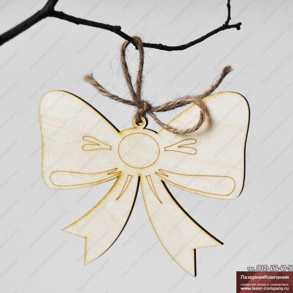 """Новогодний декор """"Бант"""" из дерева"""