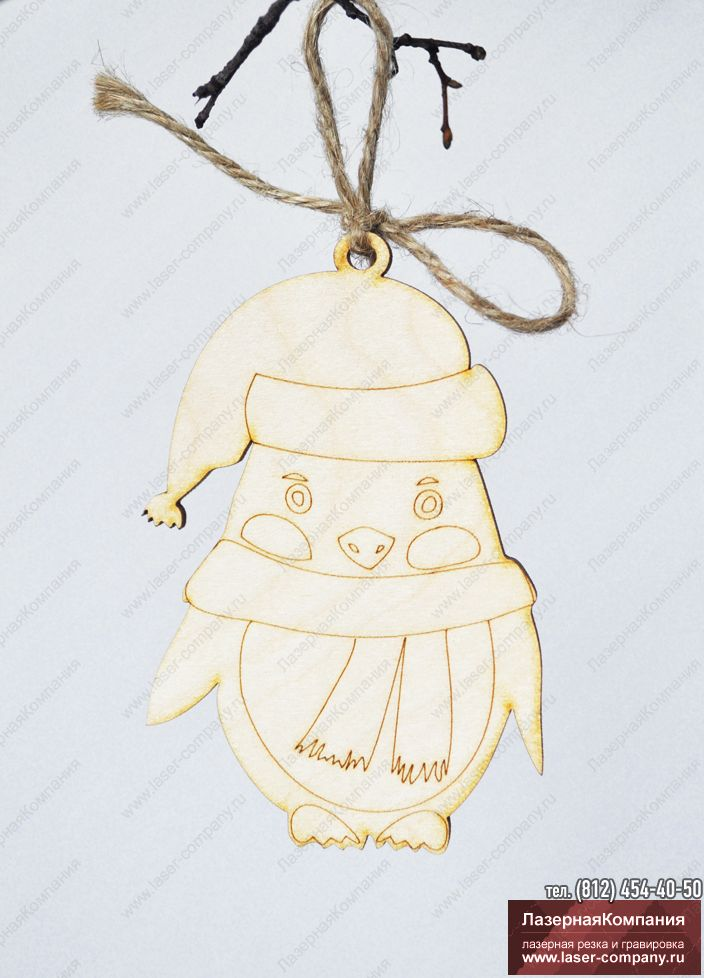 "Новогодний декор ""Пингвин""  из дерева"