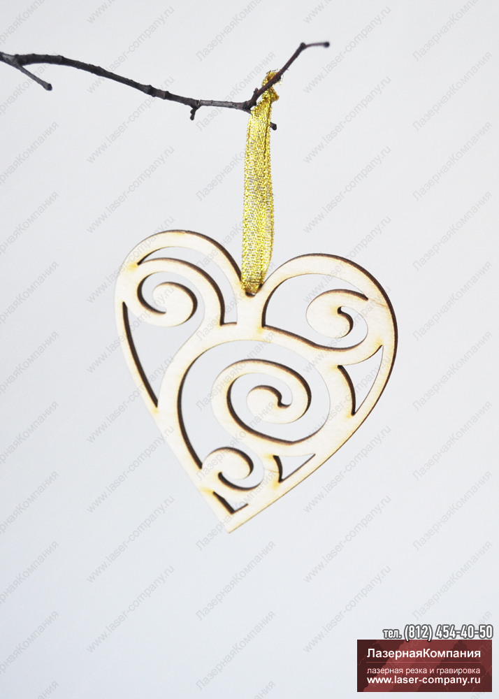 "Декоратианое сердце ""Завитки"" из дерева"