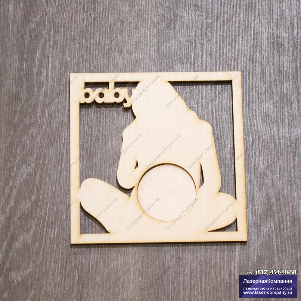"""Фоторамка для УЗИ """"BABY"""" из дерева"""