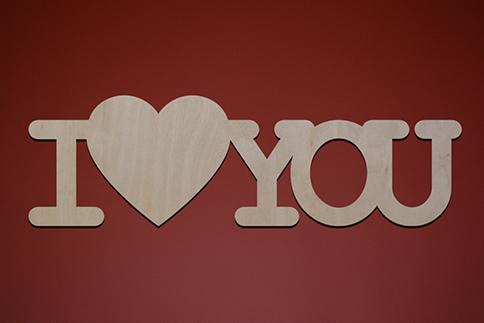 """Слово декоративное """"I love you"""""""