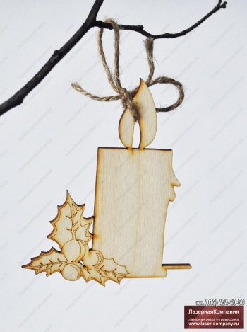 "Новогодний декор ""Свеча"" из дерева"