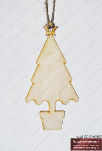 """Новогодний декор """"Ель в горшочке"""" из дерева"""