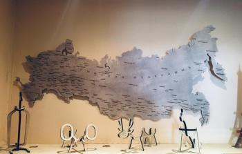 Карта России большая из дерева