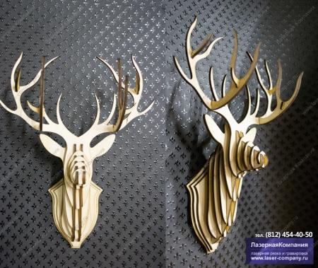 ДДекоративный 3D-олень на стену из дерева