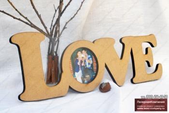 """Фоторамка """"LOVE"""" из дерева"""