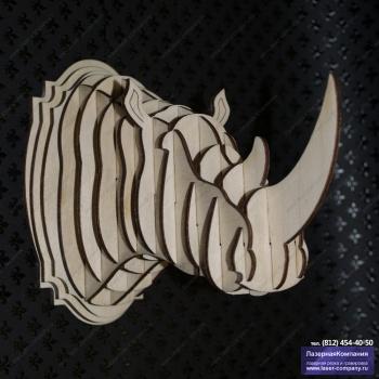 Декоративный 3D-носорог на стену из дерева